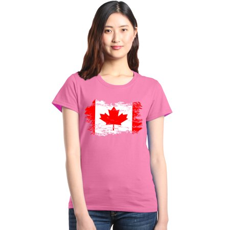 Shop4Ever Women's Distressed Canadian Flag Canada Leaf Graphic T-Shirt ()