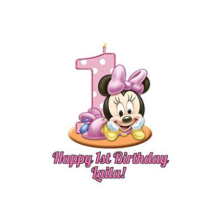 Minnie Mouse Round Girl's 1st Birthday Edible Image Photo Cake Topper Sheet Personalized Custom Customized Birthday Party - 8