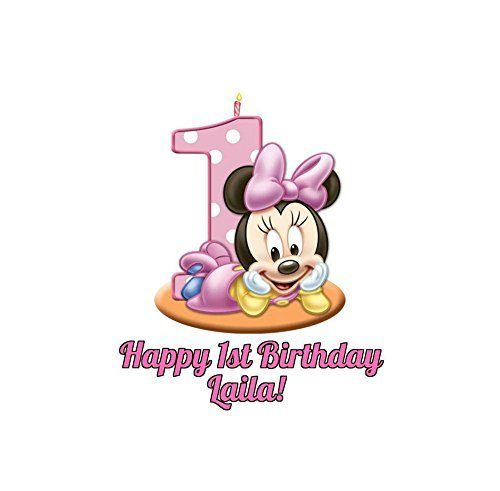 "Minnie Mouse Round Girl's 1st Birthday Edible Image Photo Cake Topper Sheet Personalized Custom Customized Birthday Party - 8"" Round - 74570"
