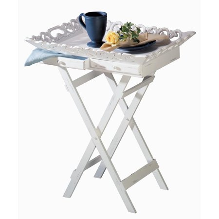 Tray Stand, Elegant White Breakfast Serving Tv Coffee Food Tray Stand