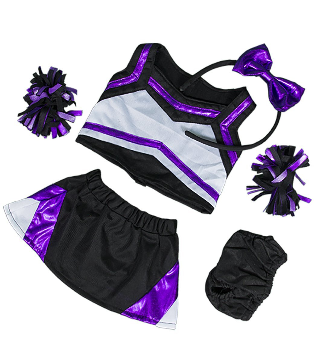 "Metallic Purple & Black Cheerleader Teddy Bear Clothes Outfit Fits Most 14"" 18""... by Teddy Mountain"