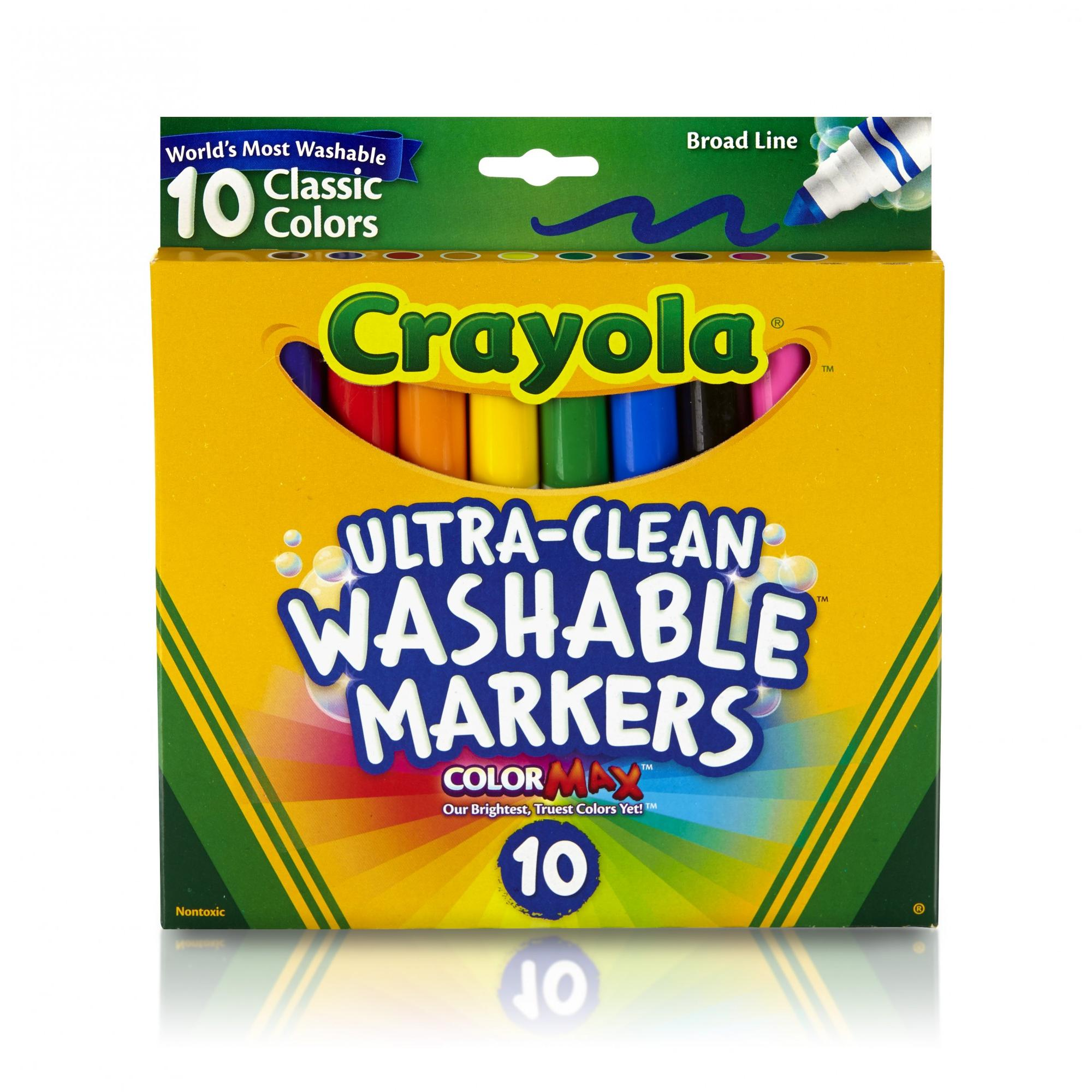Crayola Ultra Clean Washable Markers, Broad Line, School Supplies, 10 Count