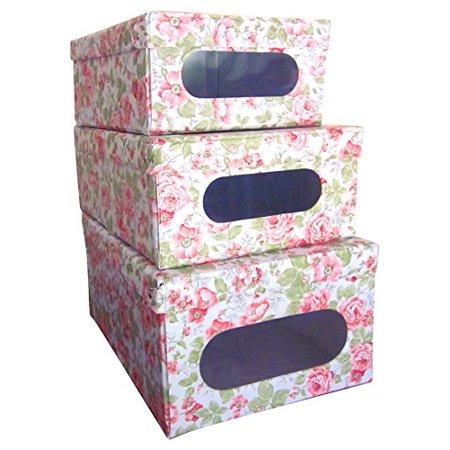 ORDINETT Foldable, Hinged Lid, Closet or Garage Storage Boxes, Stackable Storage and Organization, Vinyl Covered Inside Out, See Through Window, English Rose, Italian, Set of 3