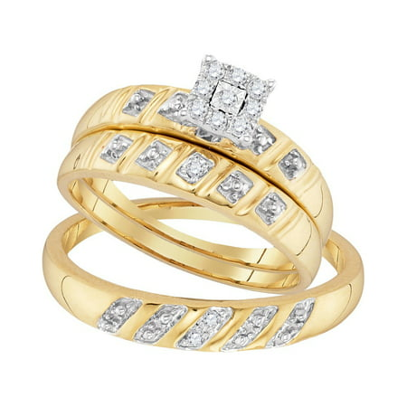 Gold Wedding Band Set - 10kt Yellow Gold His & Hers Round Diamond Cluster Matching Bridal Wedding Ring Band Set (.13 cttw.)