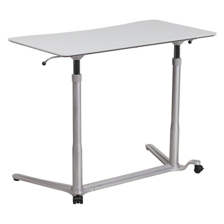 Flash Furniture Sit-Down, Stand-Up Light Gray Computer Desk with 37.5''W Top, Adjustable Range 29'' - 40.75'' Fro Adjustable Desk