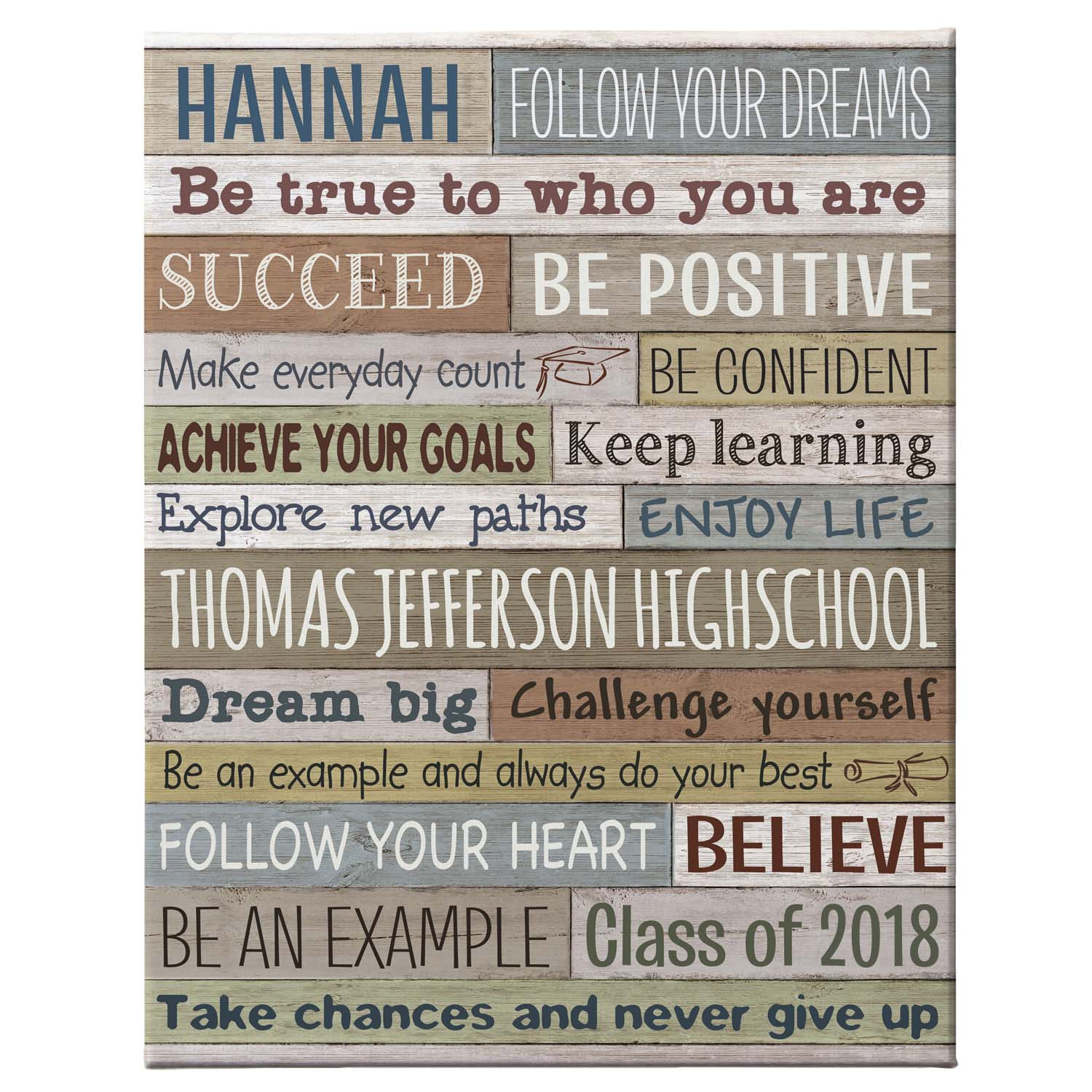 Personalized Words Of Wisdom Graduation Canvas, Available in 3 Sizes