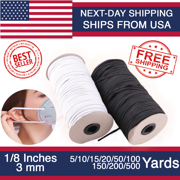 "White Flat Braided Elastic Band Yarn Sewing Crafting DIY Cord, Flat Elastic Rope, Bungee, Heavy Stretch Knit Spool 1/8"" (3mm) width 5 Yards to 500 Yards"