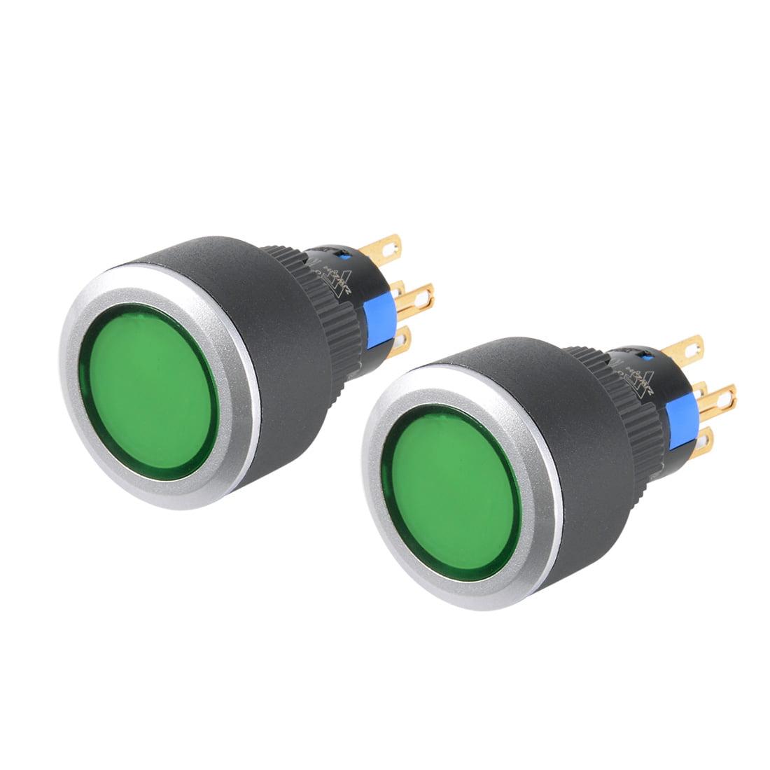 Unique Bargains 2pcs AC 250V 5A 5P SPDT Momentary Pushbutton Switch Green Round Button w Light - image 6 de 6