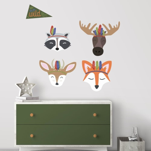 Sleepy Woodland Animals Peel and Stick Giant Wall Decals