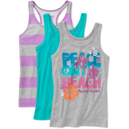 Faded Glory - Girls' Assorted Tanks, 3-Pack