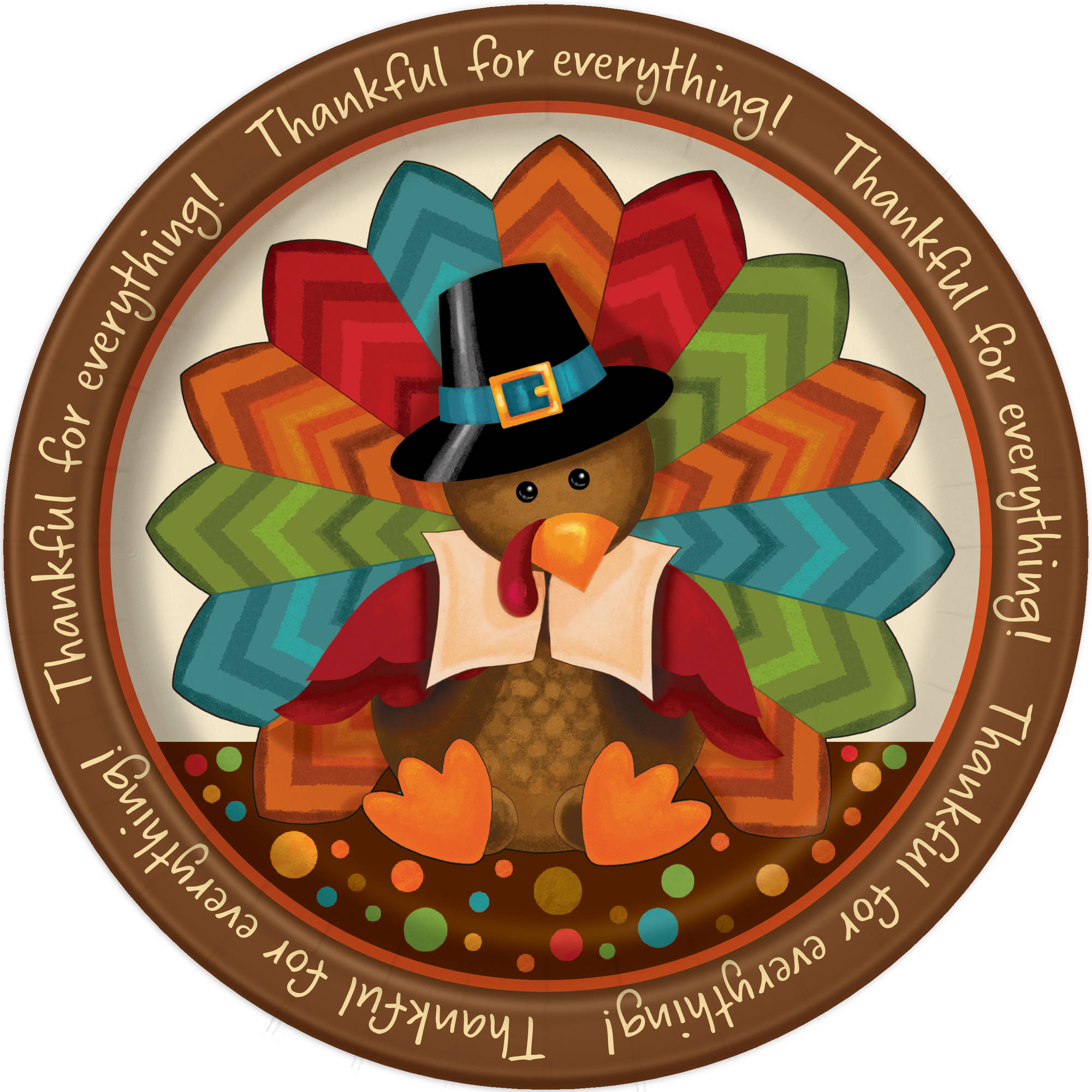 "9"" Cute Turkey Thanksgiving Party Plates, 8pk"