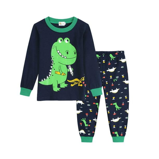 Little Boys 2 Piece Short Pajamas Train Shark Sleepwear 100/% Cotton Toddler Dinosaur Pjs Summer Kids Clothes 2-7T