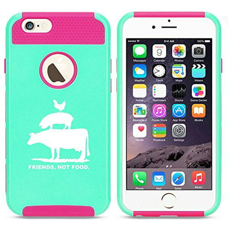 best service 43200 ca214 Apple iPhone 5c Shockproof Impact Hard Soft Case Cover Friends Not Food  Vegan Farm Animal Rights (Light Blue-Hot Pink),MIP