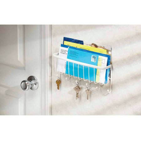 Entry Organizer - InterDesign Axis Mail, Letter Holder, Key Rack Organizer for Entryway, Kitchen, Wall Mount, White