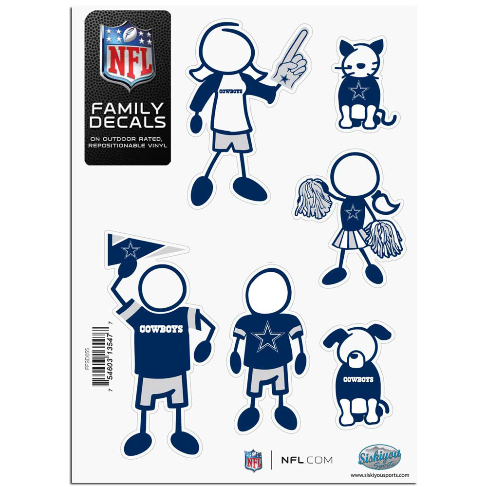 Dallas Cowboys Official NFL Small Family Decal Set by Siskiyou 135477