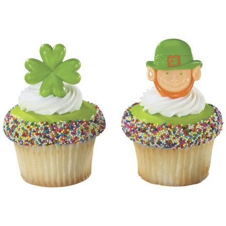 24pack Leprechaun and Shamrock Cupcake / Desert / Food Decoration Topper Rings with Favor Stickers & Sparkle Flakes](Leprechaun Decorations)