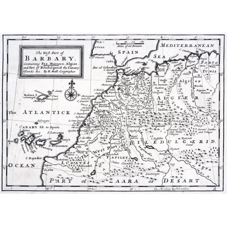 The West Part Of Barbary Containing Fez Marocco Algier And Part Of Biledulgerid The Canary Islands Etc Map From Circa 1720 By Hermann Moll Stretched Canvas - Ken Welsh  Design Pics (17 x 12)