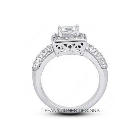 1.48ct tw I-VS1 Exc-Cut Princess AGI Natural Diamonds 14k Halo Vintage Ring 8.5g