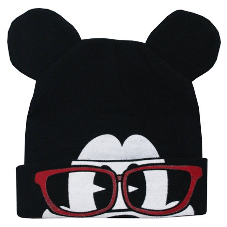 Disney - Mickey Mouse Disney Glasses Flip-Down Cuff Wink Adult Winter Knit  Beanie Hat - Walmart.com 4d9fffff39d2
