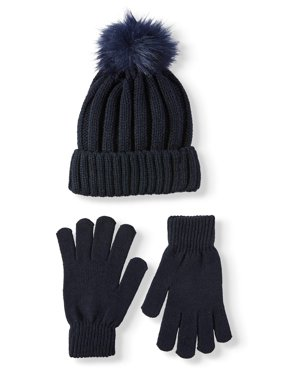 Eliza May Rose by Hat Attack Women's Winter Warmth Faux Fur Pom and Glove Gift Set