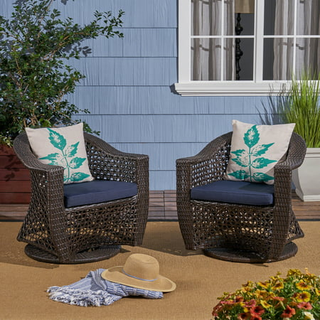 Zayn Outdoor Swivel Wicker Chairs with Cushions, Set of 2, Multi Brown, Navy Blue ()