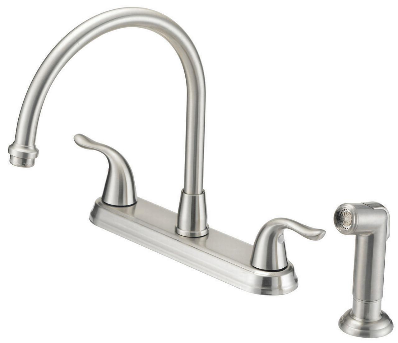 KITCHEN FAUCET 2-HDL SPRAY BN