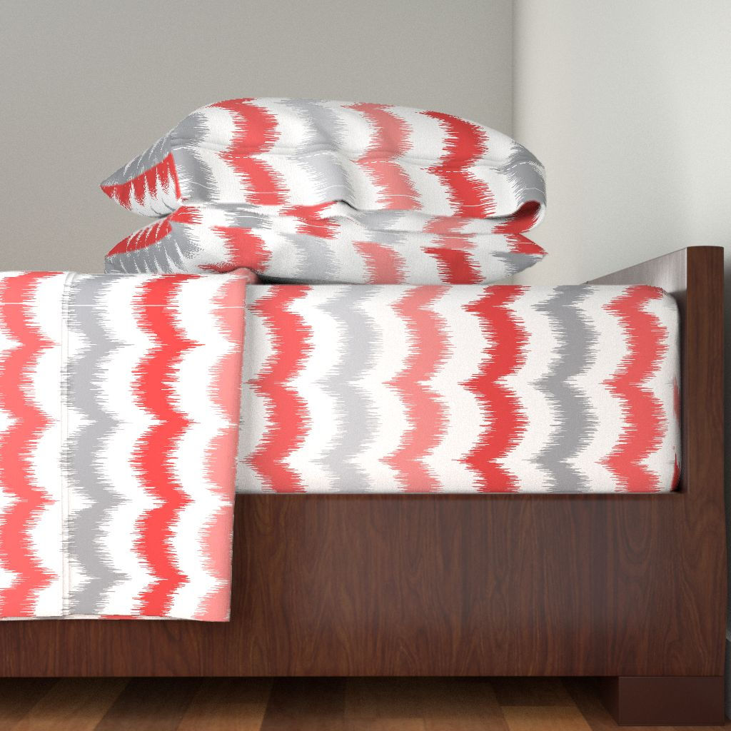 Ikat Waves Scallop Trendy Coral And 100% Cotton Sateen Sheet Set by Roostery