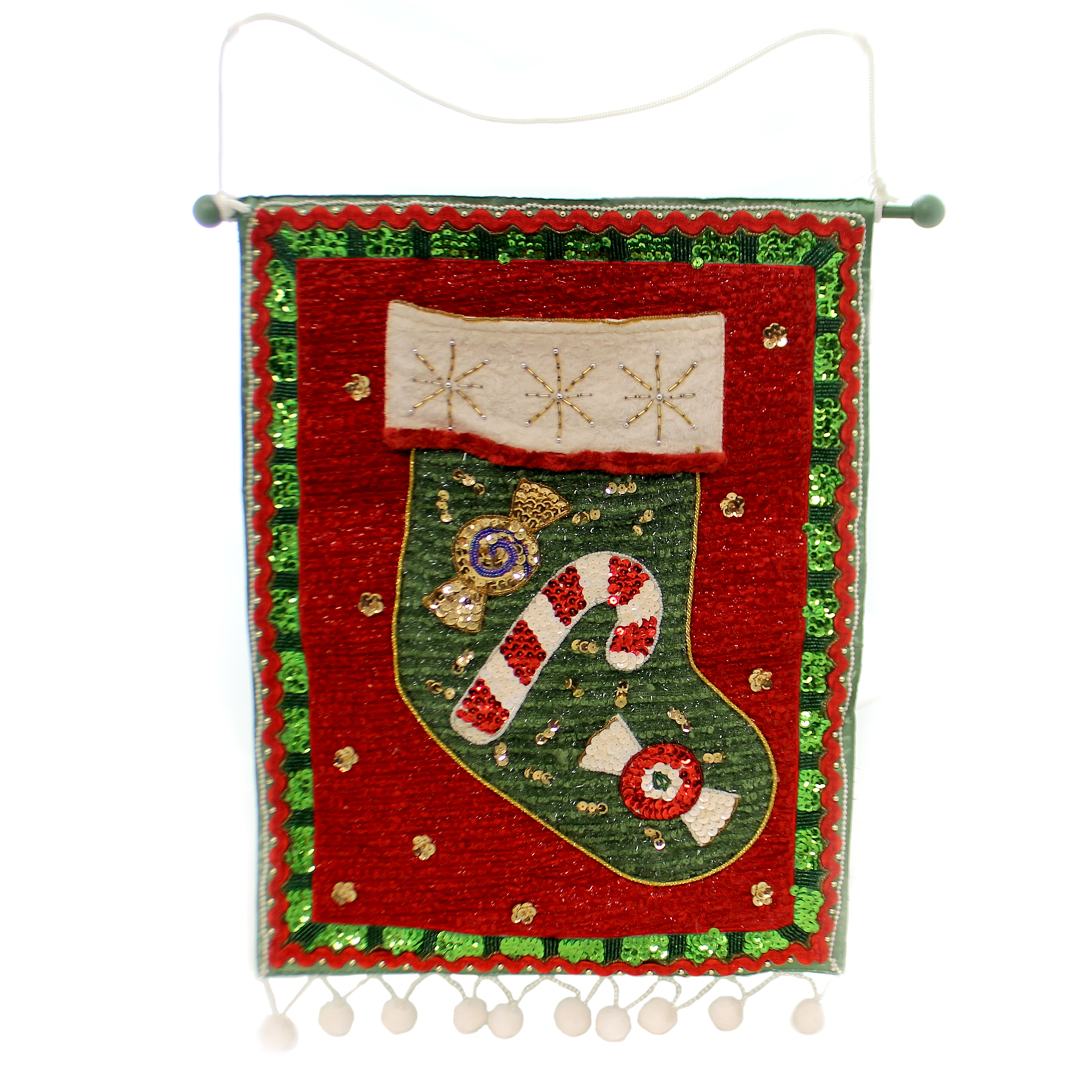 Christmas CHRISTMAS BANNER Fabric Stocking Sequin, Candy Cane Ta507