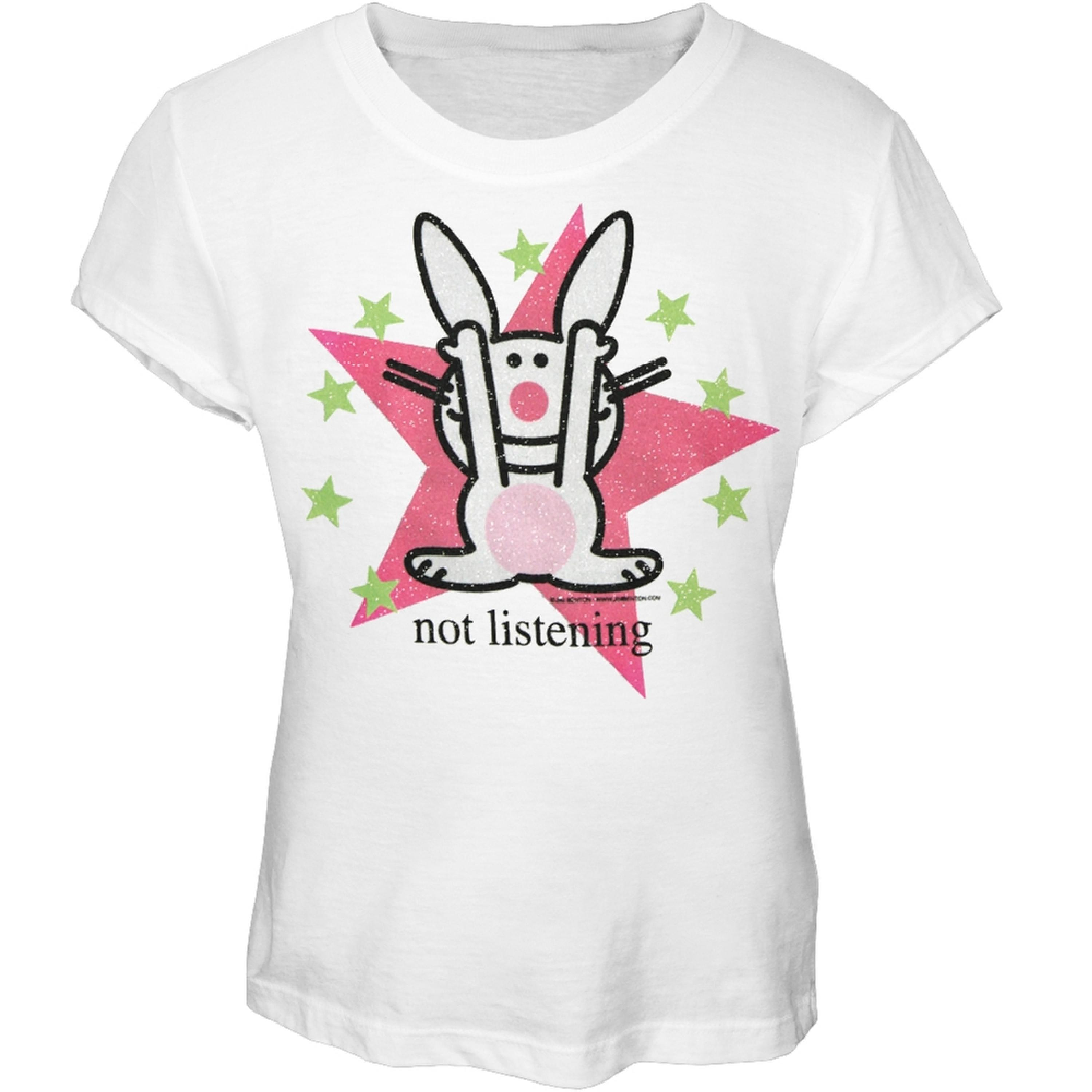 Happy Bunny - Not Listening Girls Youth T-Shirt