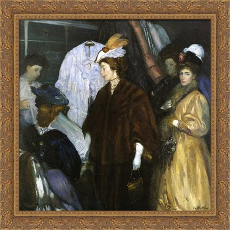 Holiday Shopper - The Shoppers 28x28 Large Gold Ornate Wood Framed Canvas Art by William James Glackens