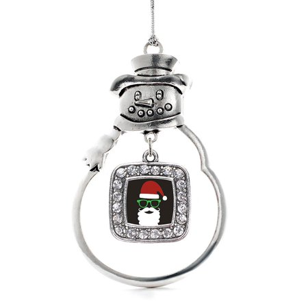 Hipster Santa Classic Snowman Holiday Ornament ()