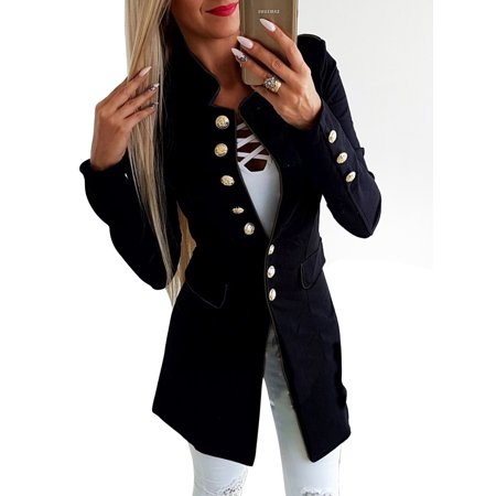 Women Lapel Blazer Suit Coat Long Sleeve Cardigan Jacket Autumn Winter Overcoat Casual Outwear Double Breasted Slim Tops ()