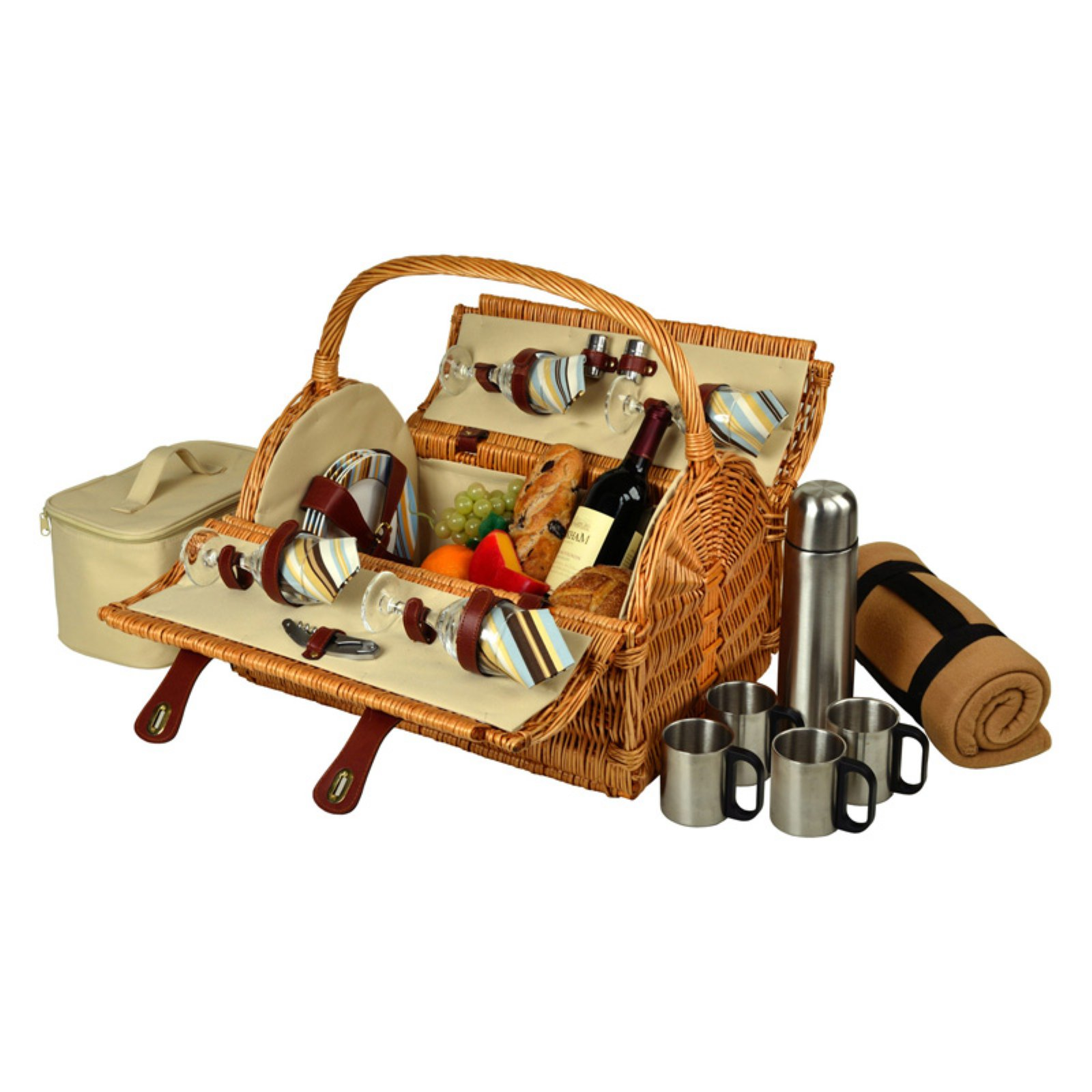 Picnic At Ascot Yorkshire Wicker Picnic Basket for 4 - Gazebo