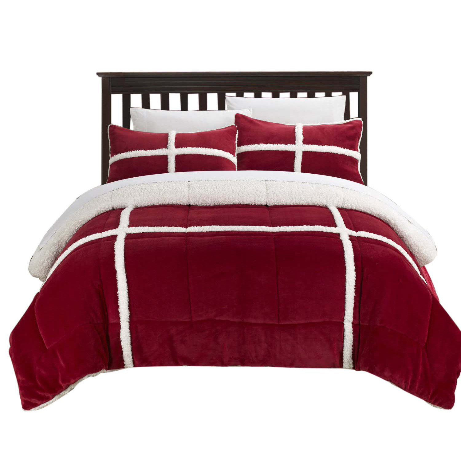 Chic Camille Mink Chloe Sherpa Lined 2 Piece Comforter Set Twin X-Long Red