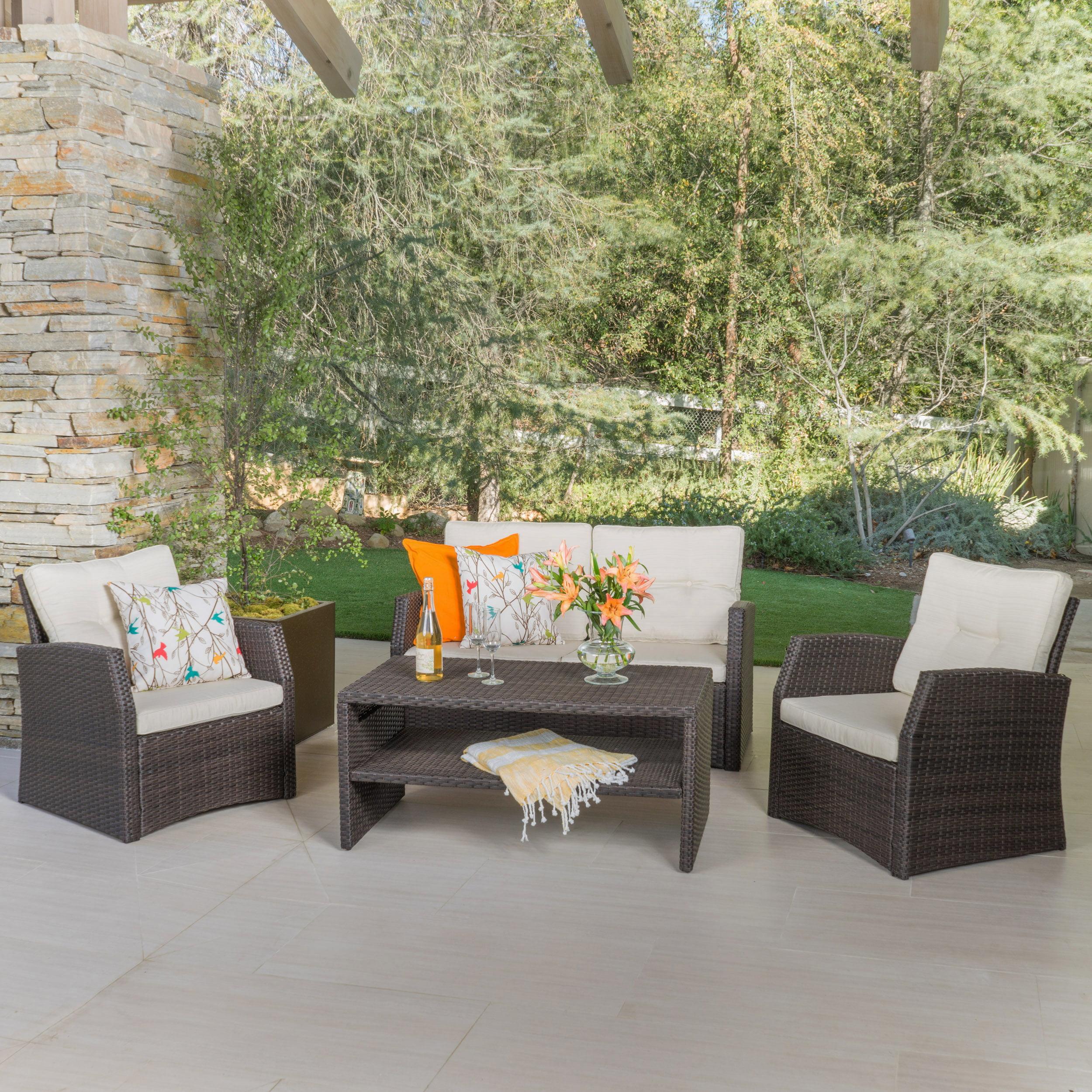 Grace Outdoor 4-piece Wicker Seating Set, Brown