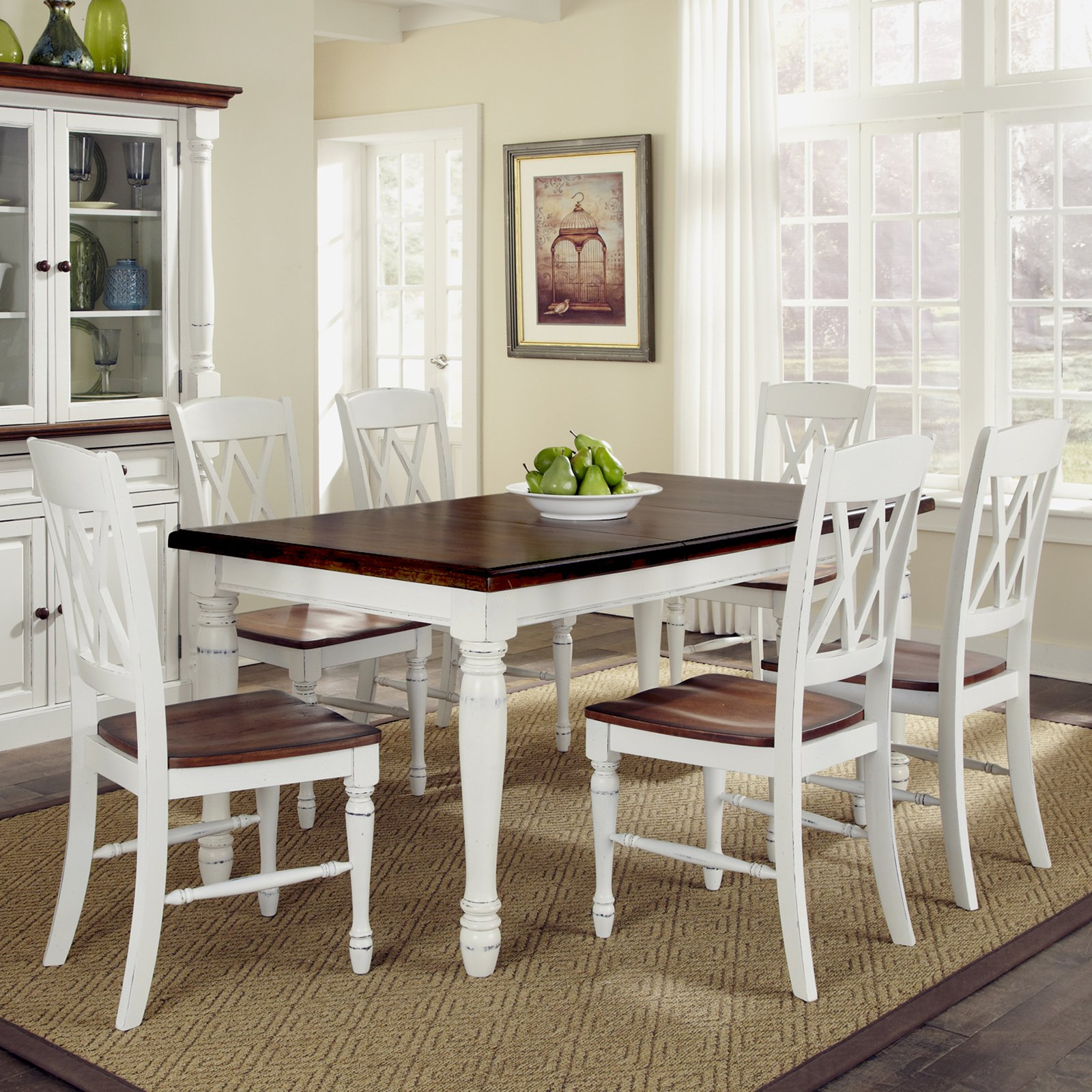 Home Styles Monarch Rectangular Dining Table and 6 Double X-Back ...