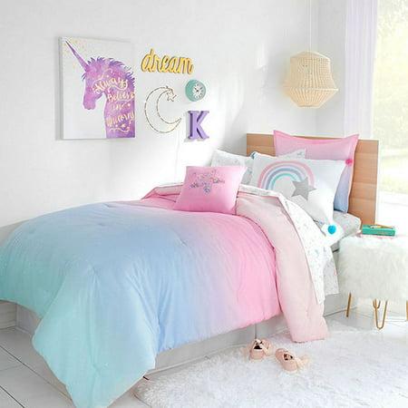 Rainbows & Unicorns Ombre Stardust Girls Twin Comforter Set (5 Piece  Bedding)