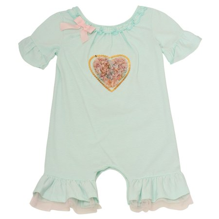 Bonnie Jean Baby Girls Aqua Heart Applique Ruffle Snap Closure Bodysuit - Heart Snap Closure