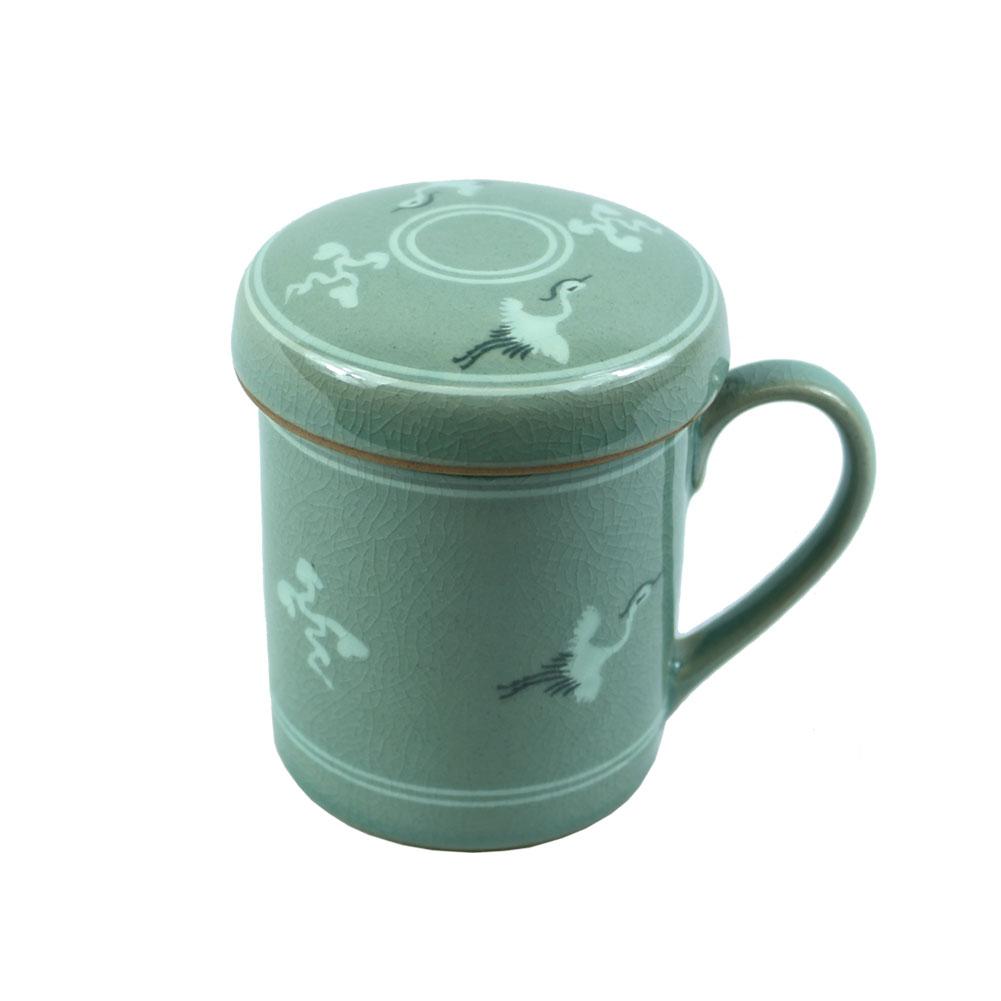 1 Set, Porcelain Tea Cup with Infuser and Lid Set Korean Ceramics Nature Style Coffee Mug Teacup Loose Leaf... by The Elixir