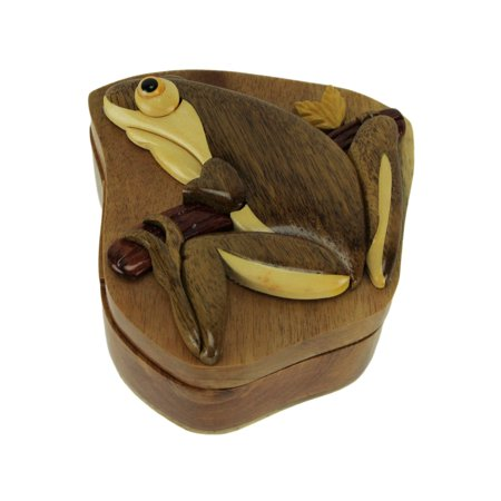 Hand Carved Wooden Tree Frog Trinket Puzzle Box - Tree Boxes