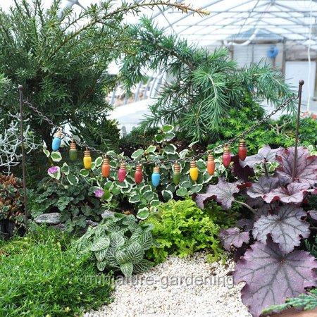 Miniature String of Colored Lights for Miniature Garden, Fairy Garden ()