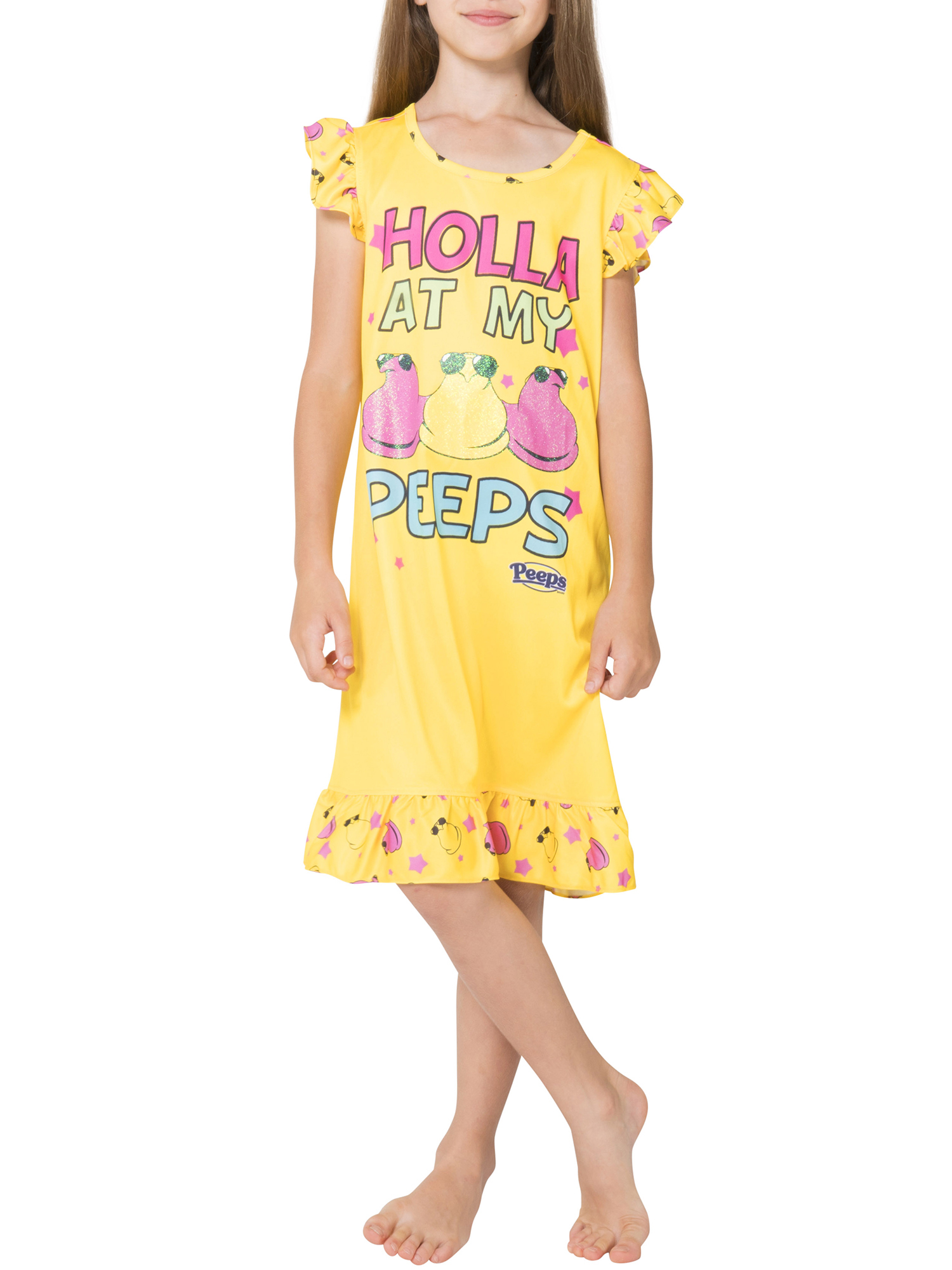 "Girls' Peeps 'Holla at My Peeps"" Pajama Nightgown (Little Girl & Big Girl)"
