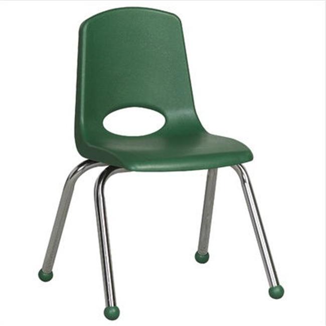 Early Childhood Resource ELR-0194-GN 14 inch School Stack Chair with Chrome Ball Glide Legs - Green