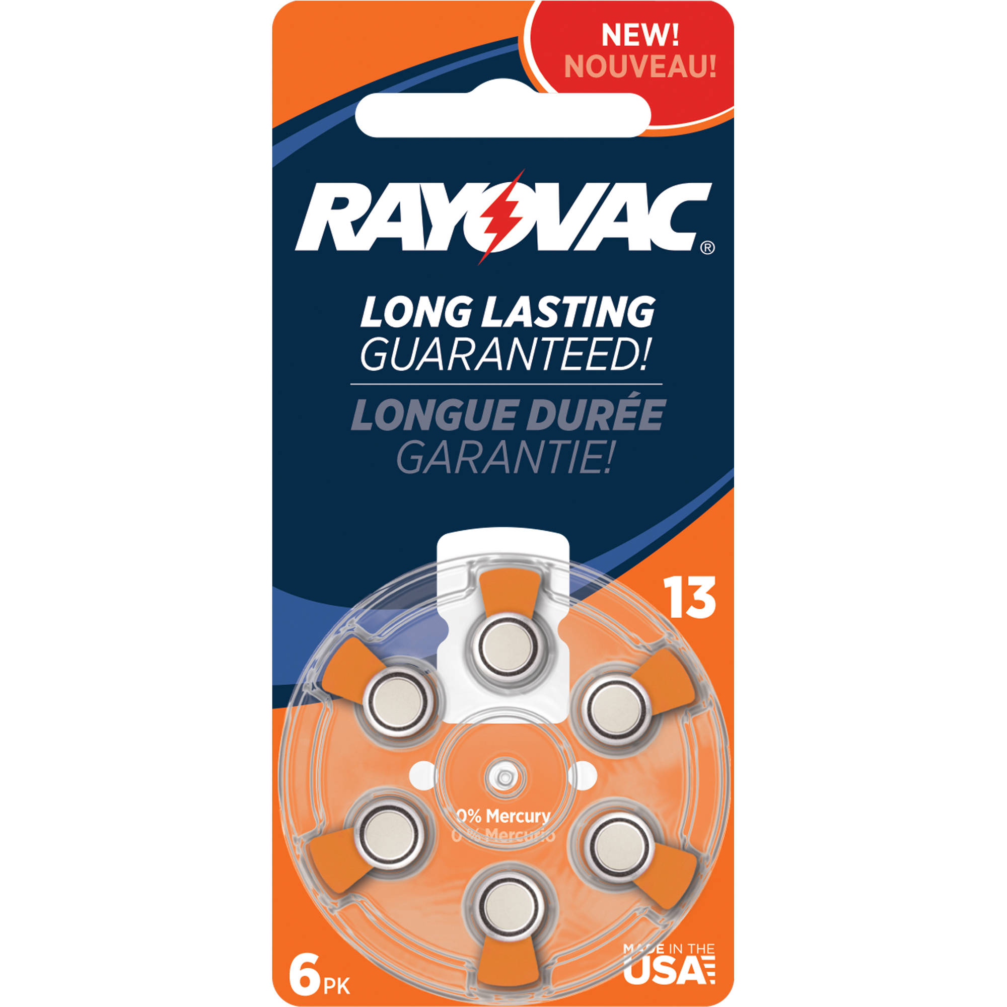 Rayovac Size 13 Hearing Aid Battery Mercury Free Batteries, 6pk