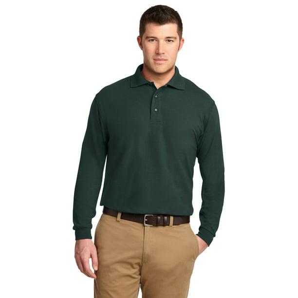 Port Authority K500LS Men's Long Sleeve Polo Shirt - Dark Green - Small