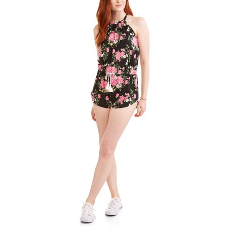 cf499eb2a7f9 Juniors  High Neck Halter Romper with Embroidered Open Back - Walmart.com