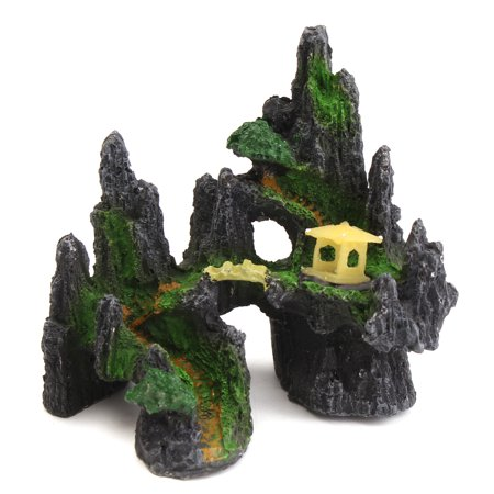 House Mountain  Aquarium Tree View Cave Bridge Fish Tank Ornament Decoration