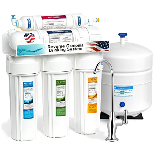 Express Water RO5D 5-Stage Undersink Reverse Osmosis Water Filter System, Chrome Deluxe Faucet, 50 GPD