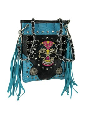 6bdd4dbed15 Free shipping. Product Image Colorful Embroidered Tribal Skull Fringed Mini  Cross Body Purse