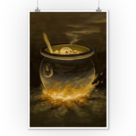 Cauldron - Halloween Oil Painting - Lantern Press Artwork (9x12 Art Print, Wall Decor Travel Poster) - Halloween Oil Paintings